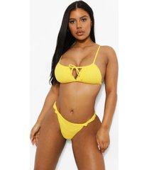 mix & match gekreukeld bikini broekje met knoop, yellow