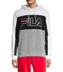 fila men's colorblock cotton-blend hoodie - white black - size xl