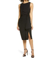 women's vince camuto sleevelees side ruffle midi dress, size 14 - black