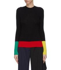 colourblock merino wool rib sweater
