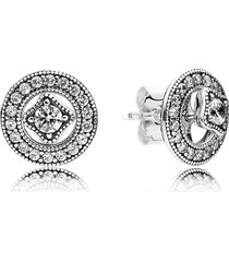 925 sterling silver vintage allure with & clear cz stud earrings qjcb1001