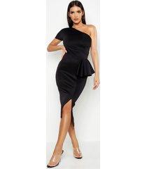 midi jurk met split en één open schouder, zwart
