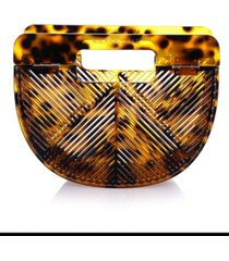 milanblocks cheetah vintage-like style acrylic clutch