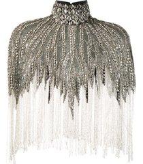 amen embellished high-neck cape - black