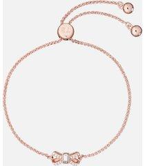 ted baker women's sabsal: crystal sparkle bow drawstring bracelet - rose gold/crystal