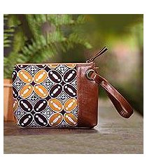 leather accented batik cotton wristlet, 'marvelous kawung' (indonesia)