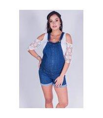 macacão gestante curta d'rafa - moda gestante jeans