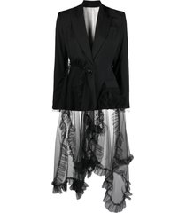 act n°1 tulle-overlay tailored blazer - black