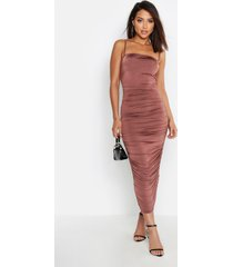 strappy square neck ruched midaxi dress, taupe
