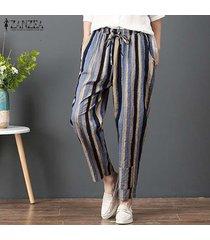 zanzea mujeres elásticos de la cintura de rayas harem pantalones casuales pantalones flojos pockets -azul