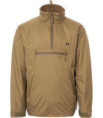 fred perry half zip utility jacket - dark khaki j4515