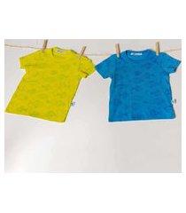t-shirt basica c/ micro estampa peixes t-shirt basica c/ micro estampa peixes amarelo 03