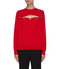 horizontal button front wool sweater