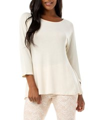 women's liverpool ballet neck seamed top, size x-large - beige