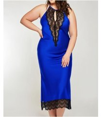 icollection plus size tess satin long halter nightgown with black lace trim, online only
