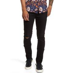 men's topman ripped skinny jeans, size 34 x 32 - black