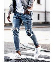 hombres de moda azul brillante apenado cónico jeans