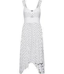 print sweetheart pleated midi dress knälång klänning vit banana republic