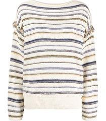 closed horizontal-stripe long-sleeve top - neutrals