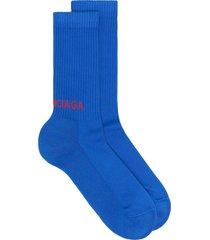 balenciaga logo-print ribbed socks - blue