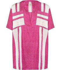 zoya striped cotton-voile tunic