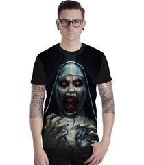camiseta lucinoze camisetas manga curta the nun preta