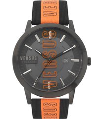 men's versus versace barbes solar canvas strap watch, 44mm