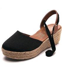 sandalia tacón corrido negro-miel-beige corali