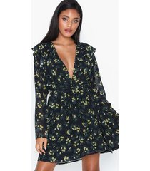 glamorous long sleeve floral dress klänningar