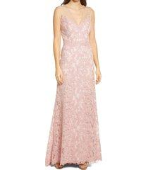 women's tadashi shoji lace gown, size 14 - pink