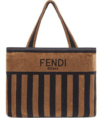 fendi convertible terry towel tote - brown