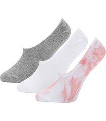 dkny women's 3-pack no-show socks - grey tie dye