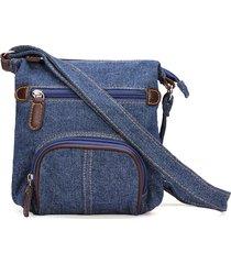 borsa a tracolla classica in denim blu borsa