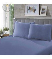 fronha para travesseiro rubi lisa 1 peça azul - sbx têxtil