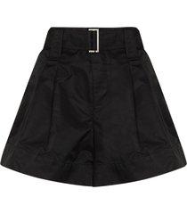 ganni thigh-length belted shorts - black