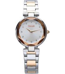 orologio solo tempo con cinturino e cassa in acciaio silver e rose gold per donna