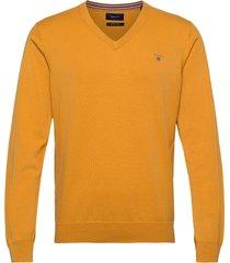 cotton wool v-neck gebreide trui v-hals goud gant