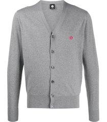 aspesi embroidered mini smiley cardigan - grey