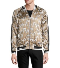 sandro men's leaf-print bomber jacket - blue - size s