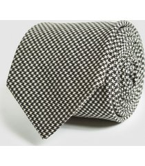 reiss mantes - cotton linen houndstooth tie in black/white, mens