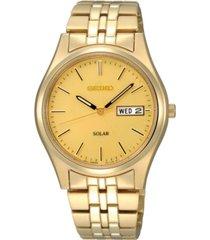 seiko watch, men's solar champagne gold-tone bracelet 37mm sne036