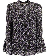 michael michael kors floral print long-sleeved blouse
