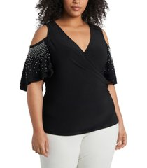 msk plus size cold-shoulder beaded-sleeve top