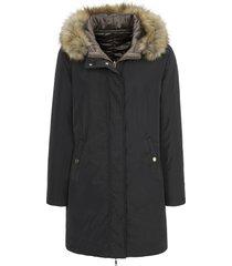 keerbare lange jas van basler zwart