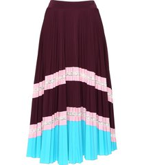 striped tiered pleated skirt red