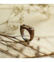pierścionek wenge z obsydianami złocistymi