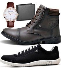2 pares bota coturno adventure e sapatênis casual com carteira e relógio king zaru 560-900mr preto