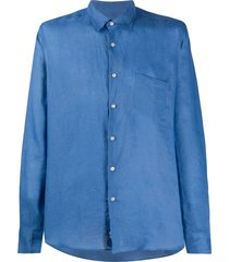 peninsula swimwear single-pocket linen shirt - blue