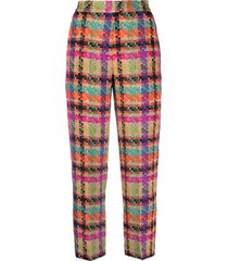 etro checked tweed trousers - neutrals