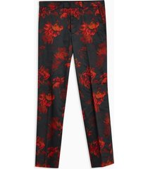 mens black floral print slim pants
